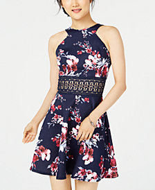 City Studios Juniors' Printed Crochet-Contrast Fit & Flare Dress