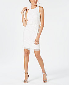 Adrianna Papell Sequined & Beaded Sheath Dress