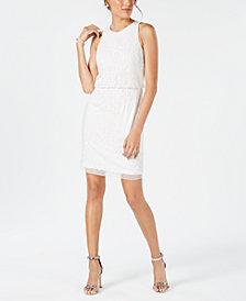Adrianna Papell Sequined & Beaded Sheath Dress