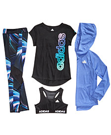 adidas Big Girls Logo Hoodie, Graphic-Print T-Shirt, Sports Bra & Printed Leggings