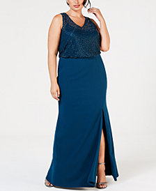 Adrianna Papell Plus-Size Sleeveless Beaded Gown