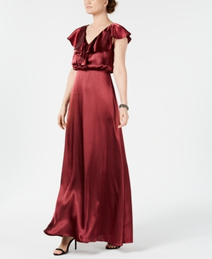 1930s Evening Dresses | Old Hollywood Dress Adrianna Papell V-Neck Ruffled Satin Gown $159.00 AT vintagedancer.com
