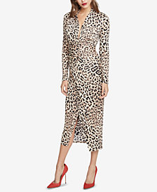 RACHEL Rachel Roy Animal-Print Faux-Wrap Midi Dress