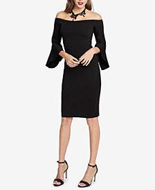 RACHEL Rachel Roy Off-The-Shoulder Bell-Sleeve Sweater Dress