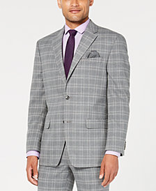 Sean John Men's Classic-Fit Stretch Light Gray Plaid Suit Jacket