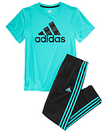 adidas Big Boys Logo-Print T-Shirt & Impact Trainer Pants