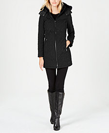Calvin Klein Faux-Fur-Trim Quilted Coat