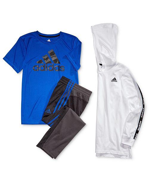 adidas Big Boys Logo Print Hoodie, Logo Print T Shirt