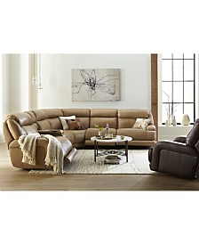 Daventry Leather Sectional Sofa Collection with Power Recliners, Power Headrests, Console and USB Power Outlet