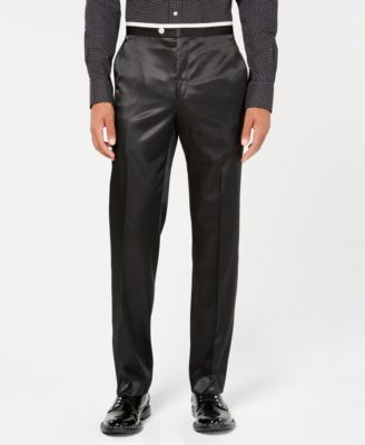 Men's Classic-Fit Black Solid Tuxedo Pants