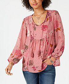 Style & Co Floral-Print Tassel-Tie Peasant Top, Created for Macy's