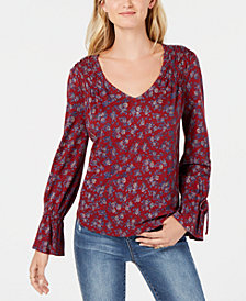 Lucky Brand Cotton Floral-Print Peasant Top