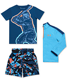 Under Armour Little Boys 1/4-Zip Shirt, Graphic-Print T-Shirt & Printed Shorts
