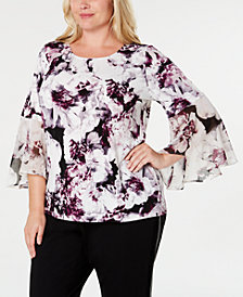 Calvin Klein Plus Size Printed Bell-Sleeve Top
