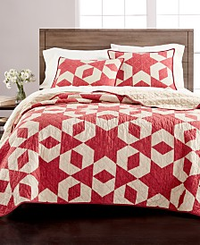CLOSEOUT! Martha Stewart Collection Geometric Stars Quilt and Sham Collection, Created for Macy's