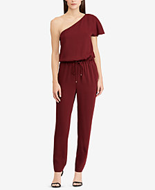 Lauren Ralph Lauren Twill One-Shoulder Jumpsuit