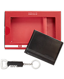 Perry Ellis Men's Leather Bi-Fold Wallet & Corkscrew Keychain