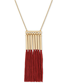 "Lucky Brand Gold-Tone Bead & Tassel Pendant Necklace, 28-1/2"" + 2"" extender"