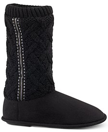 Women's Tessa Sweater-Knit Tall Boot Slippers with Memory Foam