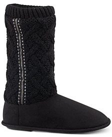 Isotoner Signature Women's Tessa Sweater-Knit Tall Boot Slippers