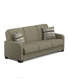 Thora Convert-A-Couch Microfiber With Stone Plaid Pillows