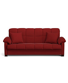 Maurice Convert-a-Couch in Red Microfiber