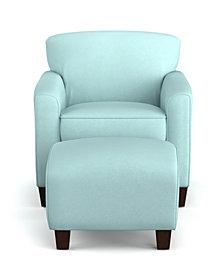 Leonardo Arm Chair and Ottoman in Sky Blue Microfiber