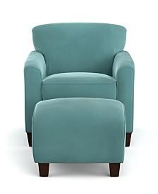 Leonardo Velvet Chair & Ottoman