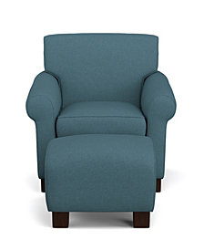 Wendy Chair & Ottoman in Blue Linen