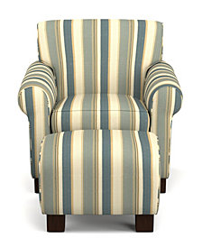 Wendy Chair & Ottoman in Coastal Blue Stripe