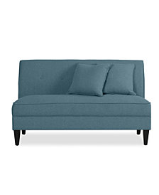 Trilby Armless Loveseat in Caribbean Blue Linen