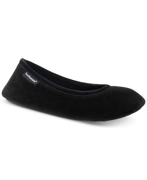 b4da9dd8772b55 ... Isotoner Signature Victoria Stretch Velour Ballerina Slippers with  Memory Foam ...