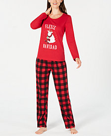 Matching Family Pajamas Women's Fleece Navidad Pajama Set, Created For Macy's