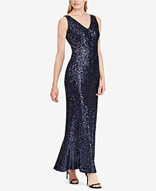 Lauren Ralph Lauren Sequined V-Neck Gown