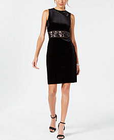 Ivanka Trump Sequined Lace & Velvet Dress