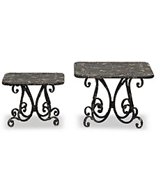 Square Metal Pedestals, Set of 2