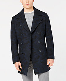 DKNY Men's Slim-Fit Dutch Navy/Black Camouflage Overcoat