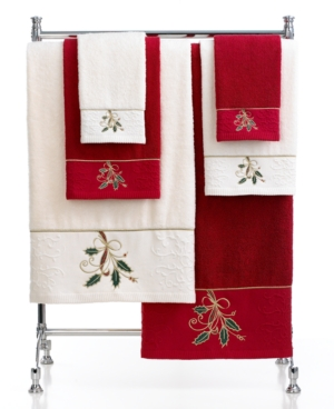 """Closeout! Lenox Bath Towels, Ribbon and Holly 16"""" x 28"""" Hand Towel Bedding"""