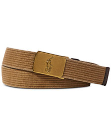 Polo Ralph Lauren Men's Pony-Plaque Webbed Belt