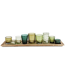 10-Pc. Wood Tray & Green Glass Votive Holders