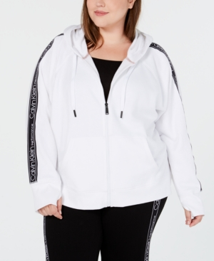 cc08173495ffb9 Calvin Klein Performance Plus Size Relaxed Zip Hoodie In White ...