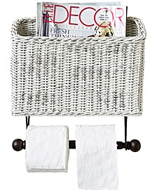 Wicker Wall Magazine & Toilet Paper Holder
