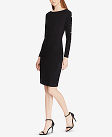 Lauren Ralph Lauren Button-Trim Matte Dress
