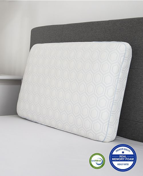 SensorGel  Luxury Gel-Infused Memory Foam King Gusseted Pillow with Heat Reducing COOLcloth Cover and Built-In iCOOL Technology System