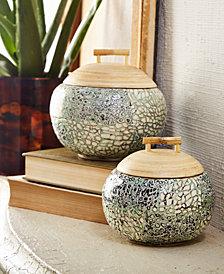 Set of 2 Celadon Bamboo Shimmer Eggshell Covered Jars