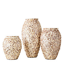Shingles Set of 3 Mother of Pearl Vases