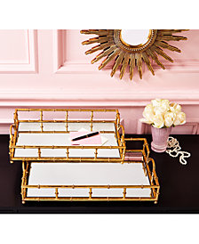 Golden Elegance Set of 2 Mirrored Glass Trays Includes 2 Sizes