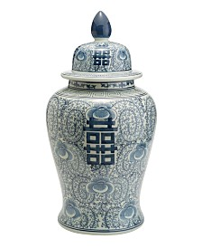 Floral Pattern Large Covered Temple Jar