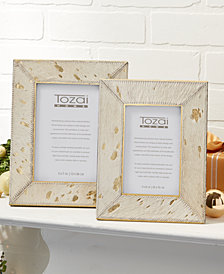 Golden Natural Cowhide Set of 2 Photo Frames with Metallic Gold Back Includes 2 Sizes