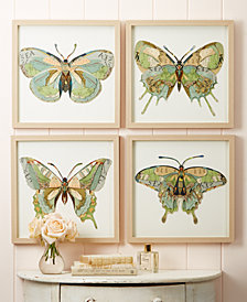 Papillon Set of 4 Butterfly Paper Collage Wall Art